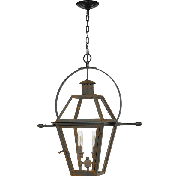 Quoizel Rue De Royal 2 Light 21 inch Industrial Bronze Outdoor Hanging Lantern
