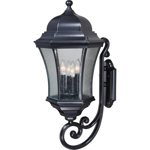 Vaxcel Aberdeen 4 Light 27 inch Shiny Black Outdoor Wall Light