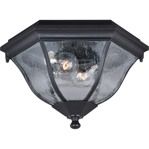 Vaxcel Aberdeen 2 Light 14 inch Shiny Black Outdoor Flush Mount