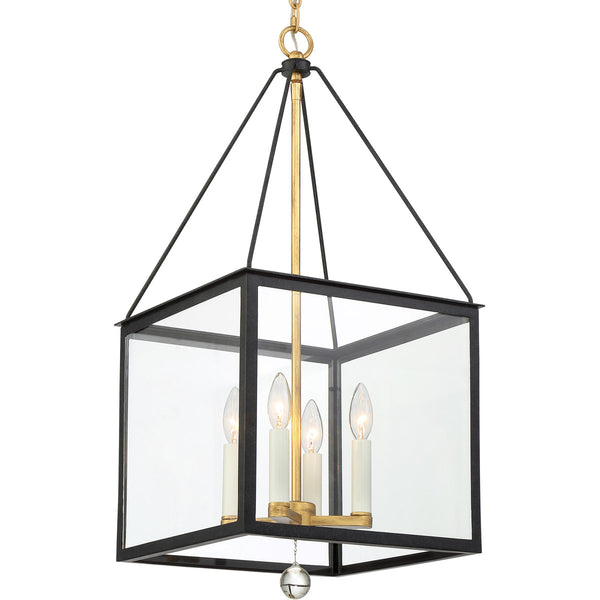 Crystorama Weston 4 Light 14 inch Matte Black and Antique Gold Lantern