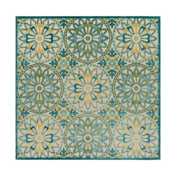 Surya PRT1067-76SQ Portera 90 X 90 inch Blue and Blue Outdoor Area Rug Polypropylene