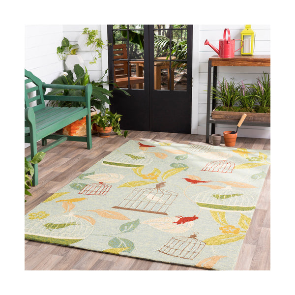 Surya Rain 120 X 96 inch Green and Red Outdoor Area Rug Polypropylene