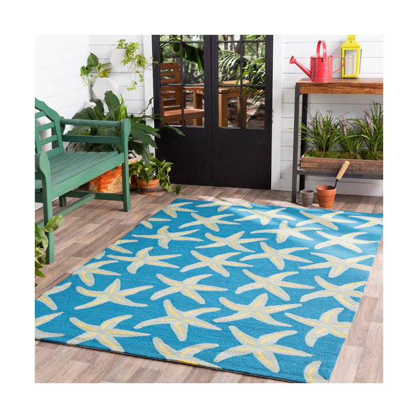 Surya Rain 96 X 60 inch Bright Blue/Sea Foam/Lime Outdoor Rug Polypropylene