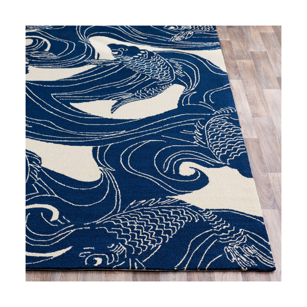 Decovio 12253-BN Binghamton 96 X 60 inch Blue and Neutral Outdoor Area Rug Polypropylene