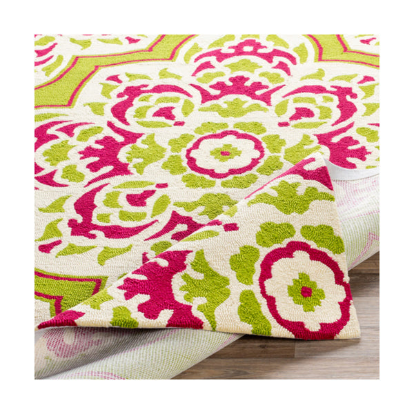 Surya Rain 36 X 24 inch Lime/Bright Pink/Cream Outdoor Rug Rectangle