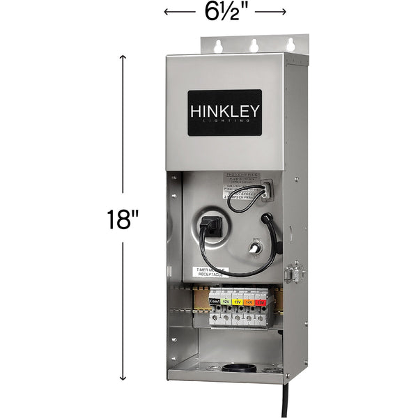 Hinkley Lighting Signature 120V 300 watt Stainless Steel Landscape Transformer 12V-15V Multi-Tap Outputs Low Volt