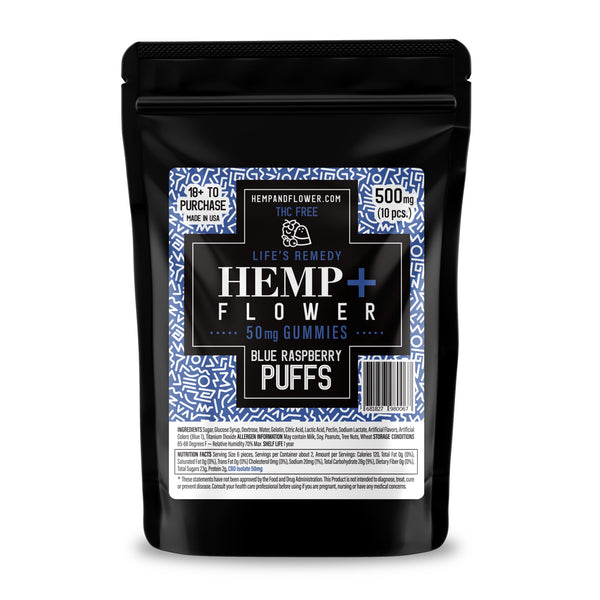Blue Raspberry Puffs 50 mg CBD isolate/each - 500 mg per pack - 10 pieces