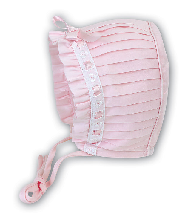 SARAH LOUISE PLEATED PINK BONNET
