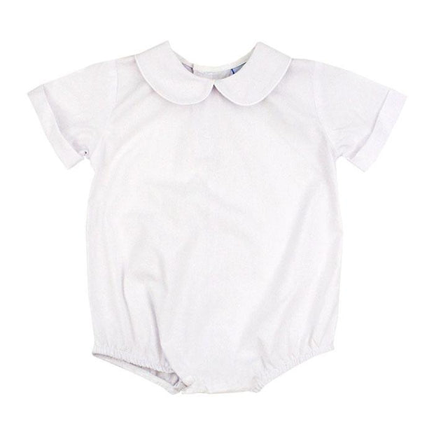 Button Back Boys Short Sleeve Piped Onesie