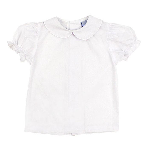 Button Back Girls Short Sleeve Piped Shirt