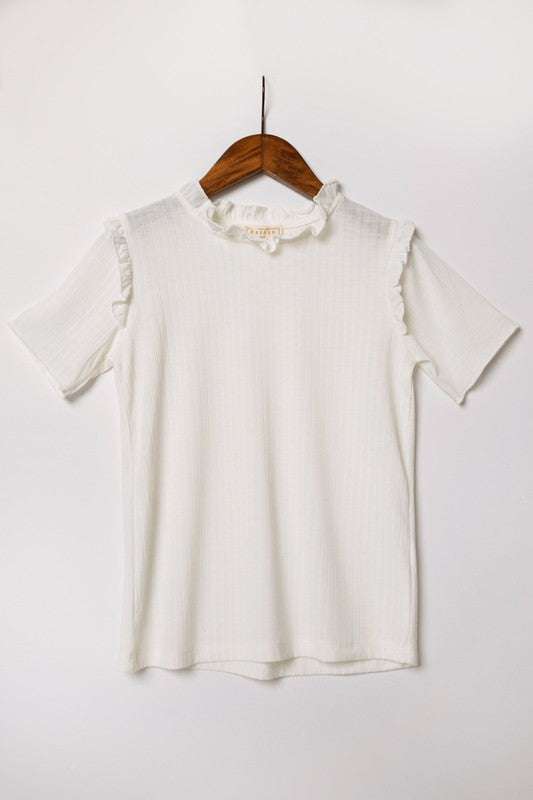 Ruffle Collar Knit Tee