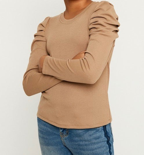 Pleated Taupe Ribbed Top