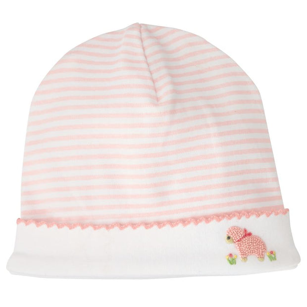 PINK STRIPED FRENCH KNOT LAMB CAP