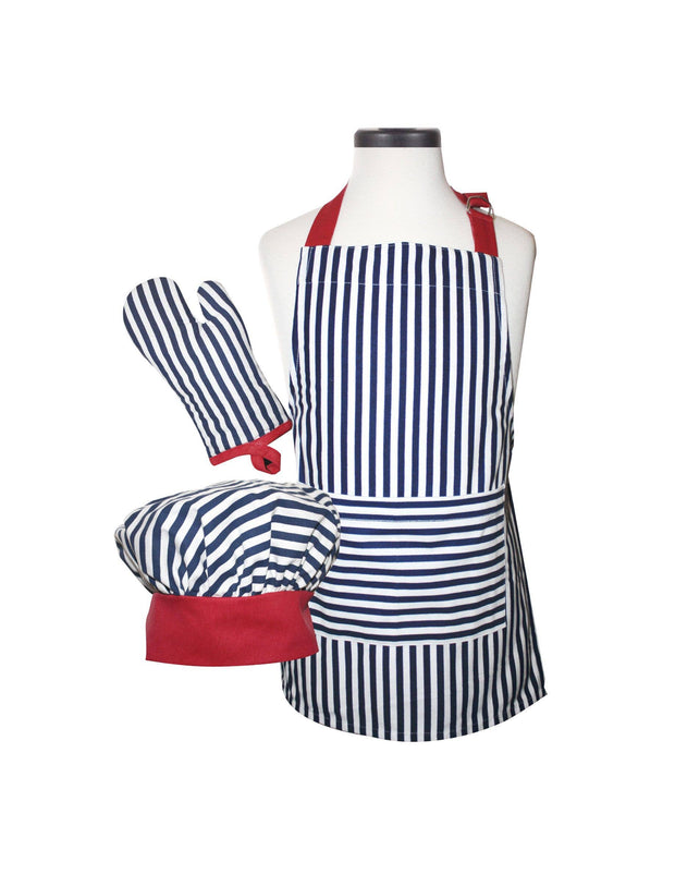Navy Striped Deluxe Child Apron Set