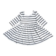 WHITE STRIPE TWIRL DRESS