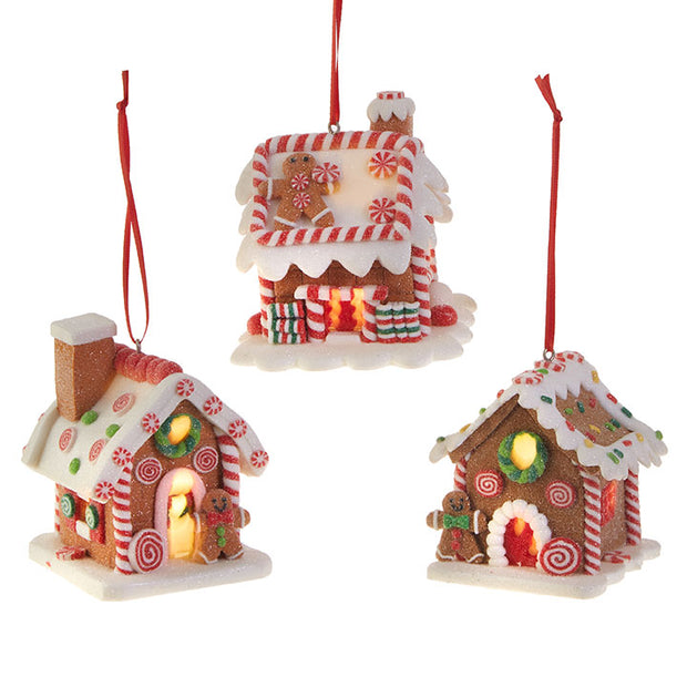 "3.25"" Lighted Gingerbread House Ornament"