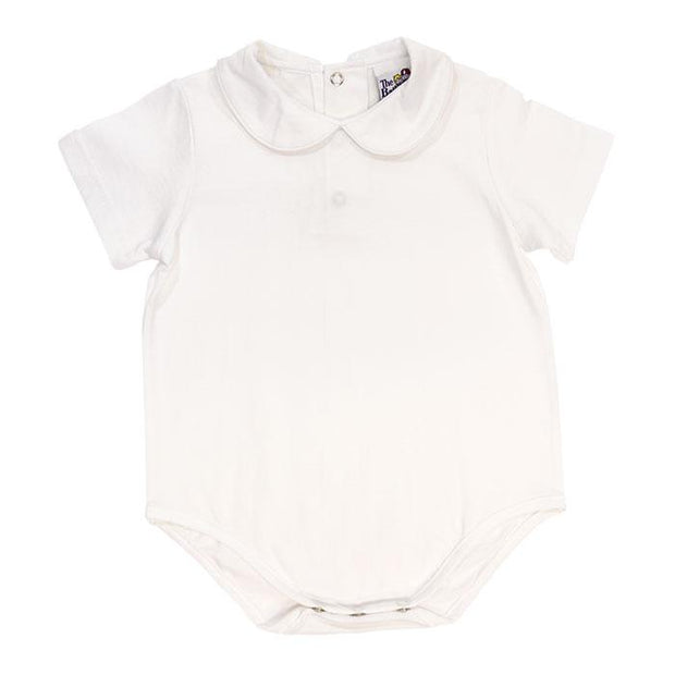 White Knit Boys Short Sleeve Button Back Onesie
