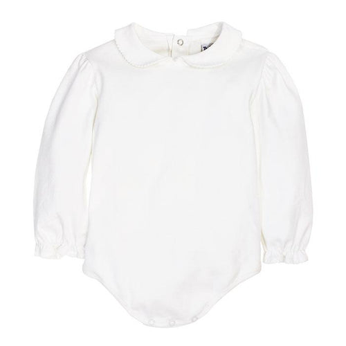 GIRLS WHITE KNIT PIPED BLOUSE WITH SNAPS