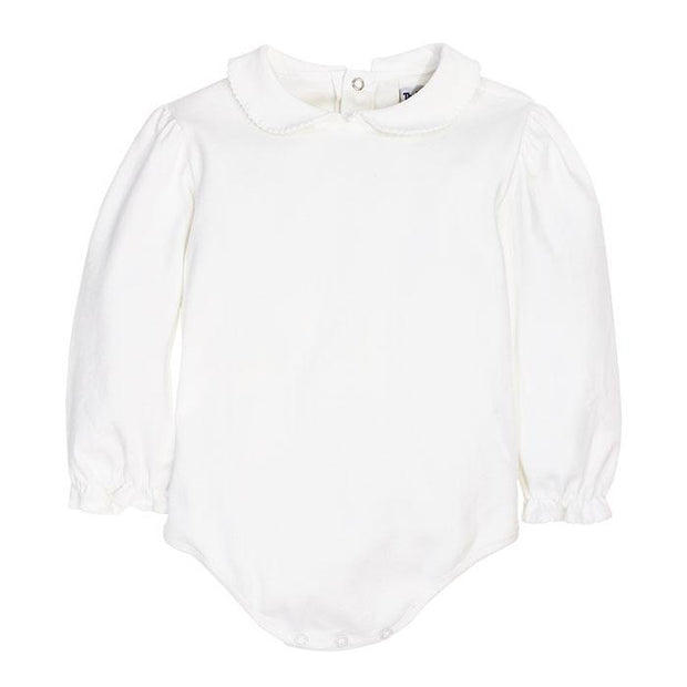 GIRLS WHITE KNIT LONG SLEEVE PIPED BLOUSE WITH SNAPS