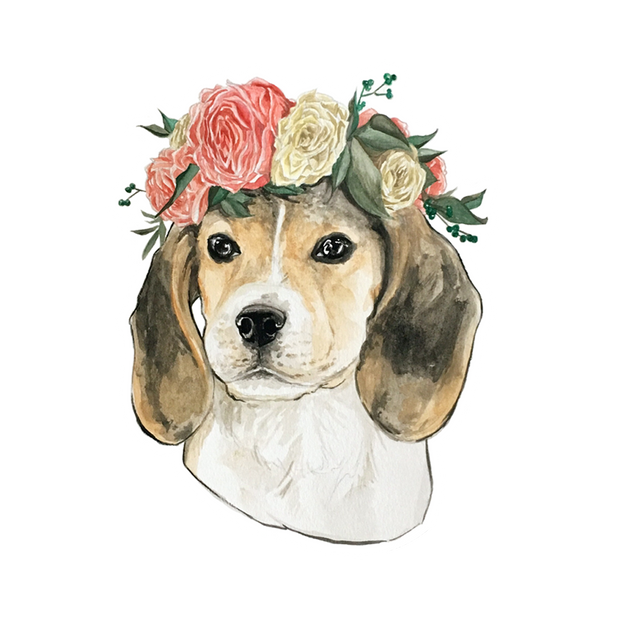 Flower Crown Beagle Sticker