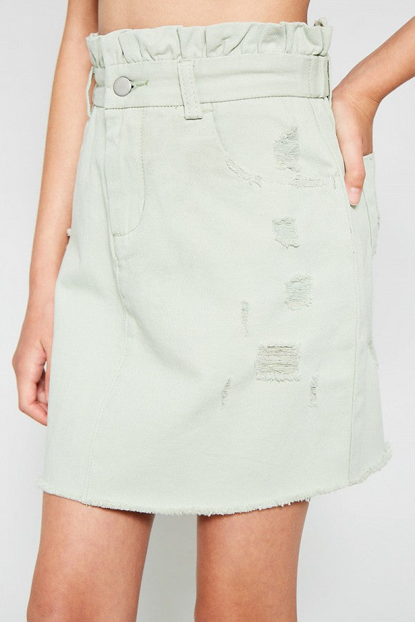 Distressed Paperbag Denim Skirt