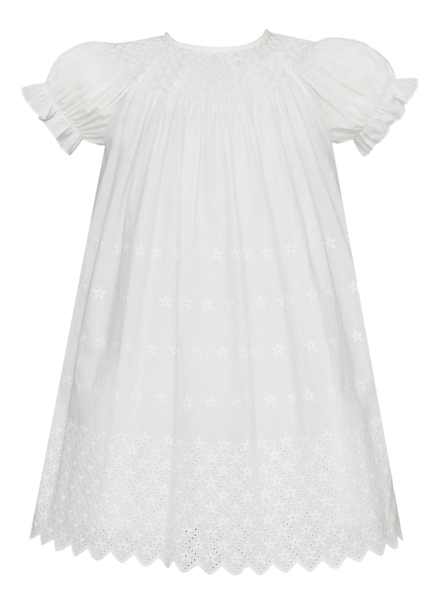 WHITE EMBROIDERED EYELET BISHOP