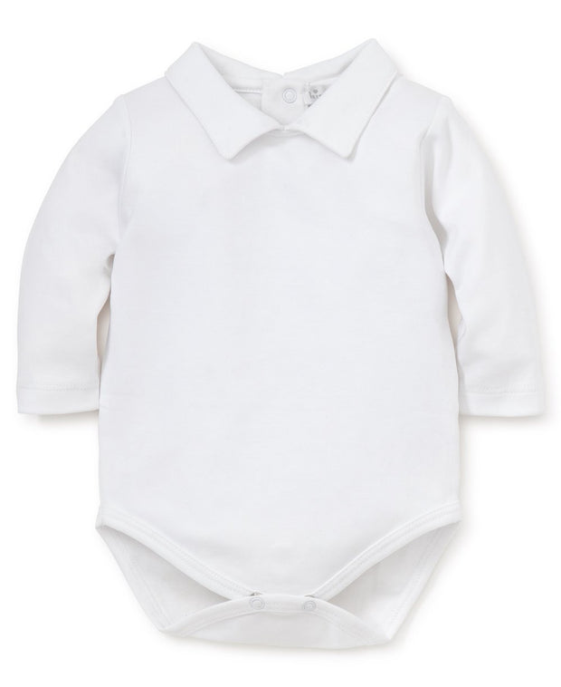 WHITE KISSY KISSY BASICS LONG SLEEVE COLLAR BODYSUIT