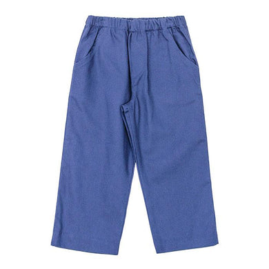 BASIC ELASTIC WAIST PANTS IN NAVY TWILL