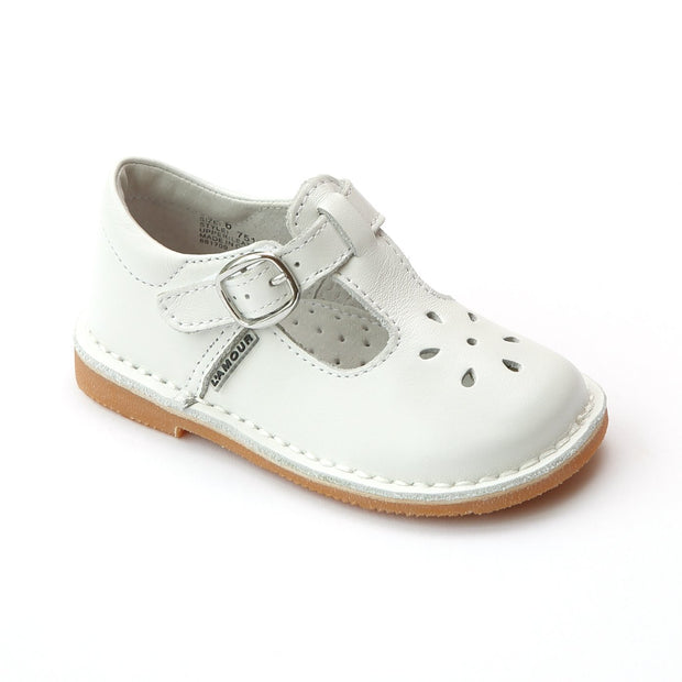 JOY CLASSIC WHITE LEATHER STITCH DOWN T STRAP MARY JANES