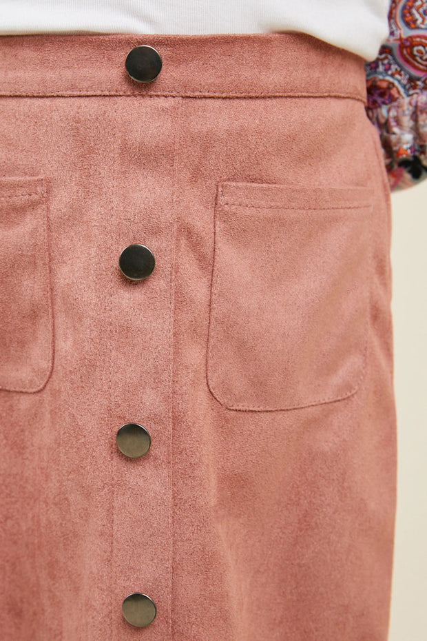SCALLOP HEM FAUX SUEDE DUSTY PINK SKIRT
