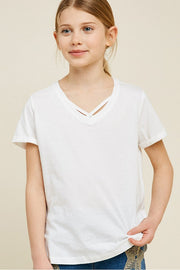 White V-Neck Criss-Cross Tee