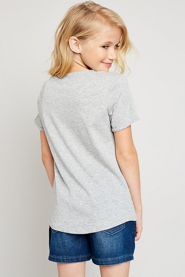 Heather Grey V-Neck Criss-Cross Tee