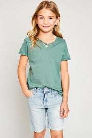 Sage V-Neck Criss-Cross Tee