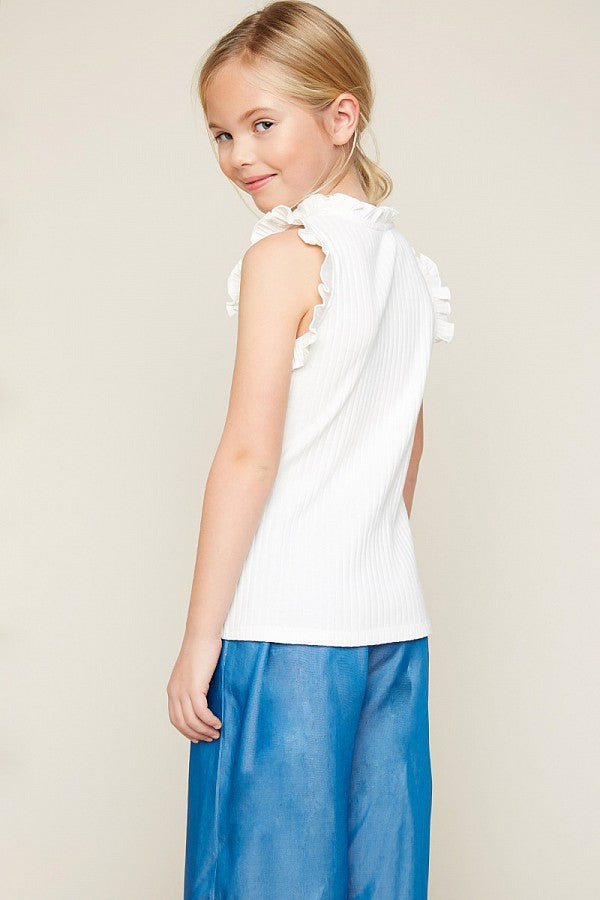 Ruffle High-Neck Tank Top Off White