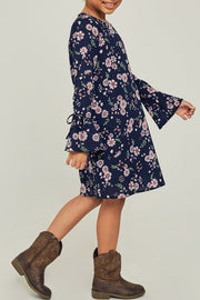 Floral Bell Sleeve Mini Dress