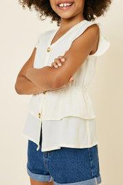 TIERED BUTTON DOWN RUFFLE HEM TOP