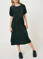 Sparkle Velvet Puff Sleeve Midi Dress