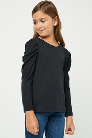 Pleated Ribbed Top-Black