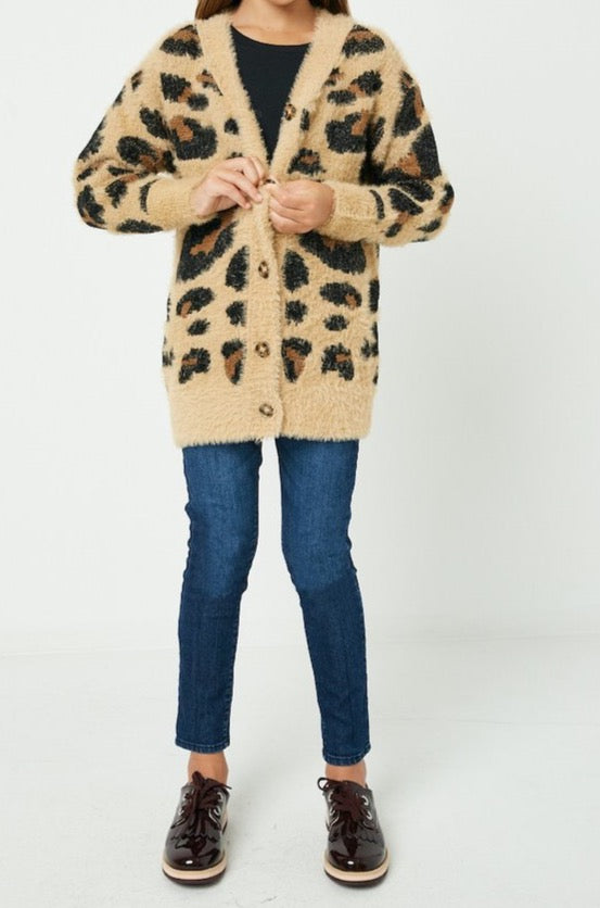Leopard brown Sweater Cardigan