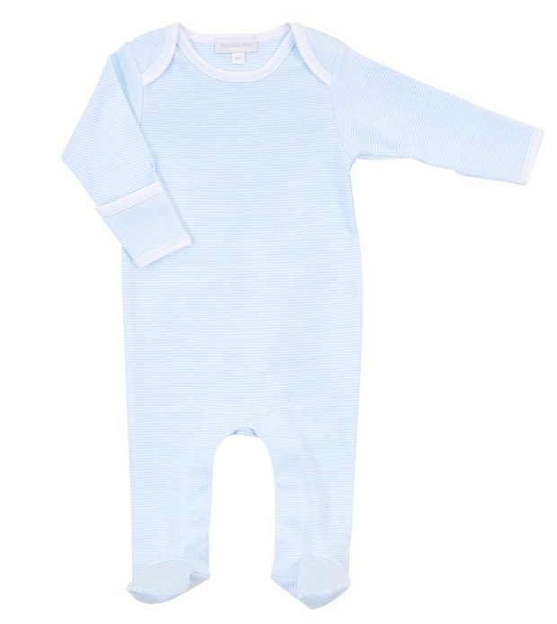 Mini Stripe Footie Light Blue