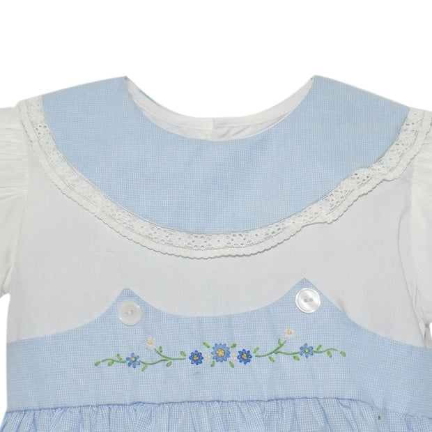 BLUE MICROCHECK DRESS WITH GREEN FLOWER SMOCKED