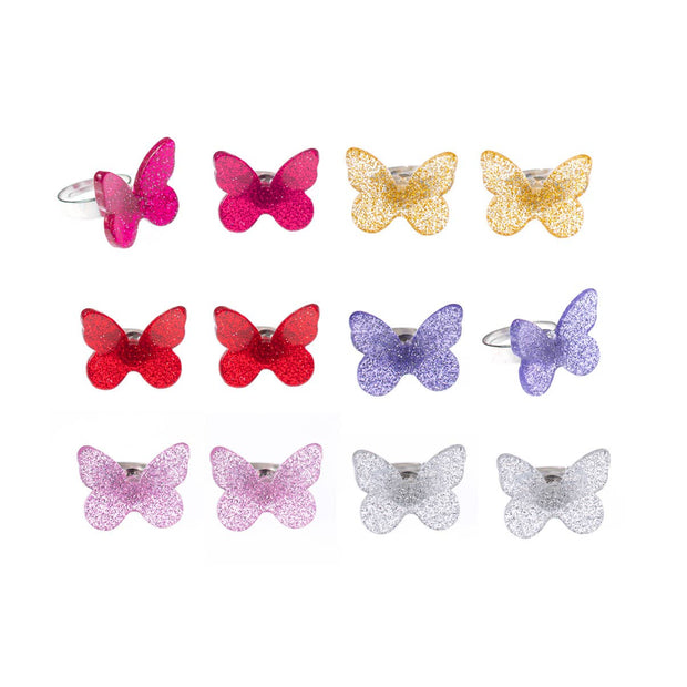 Lilies & Roses NY - Butterfly Assorted Glitter Colors Rings (Pack of 12)