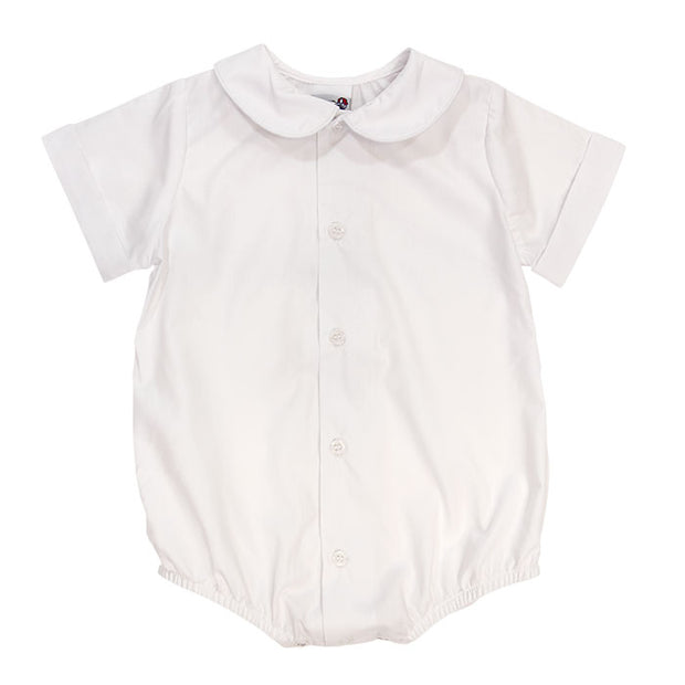 PETER PAN COLLAR BOYS PIPED SHIRT W/ SNAP