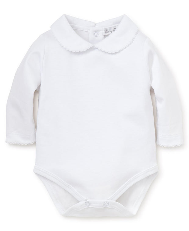 WHITE KNIT LONG SLEEVE GIRLS BEBE COLLAR ONESIE