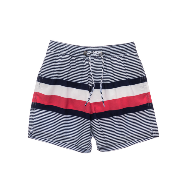 Navy Contrast Stripe Volley Board Shorts