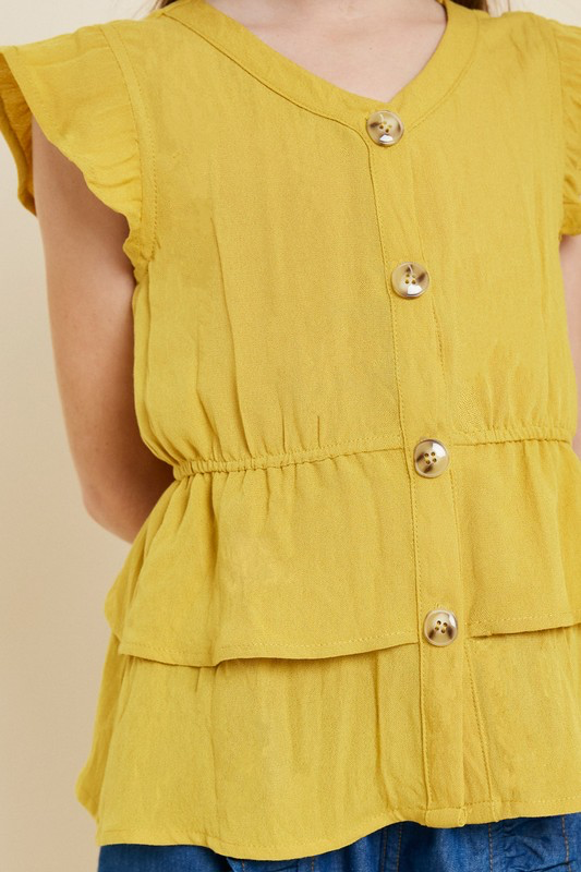 Peplum Button-Down Top-Honey