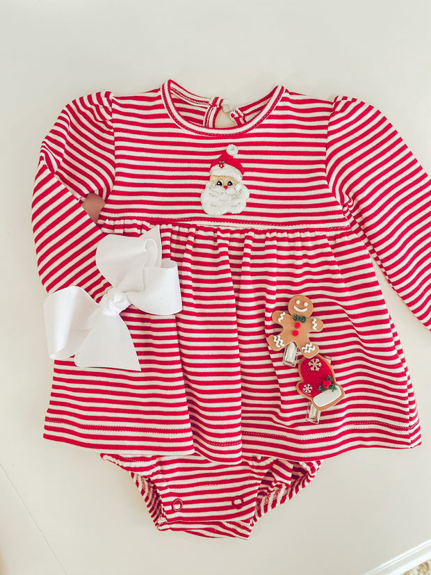 Striped Santa Skirted Onesie