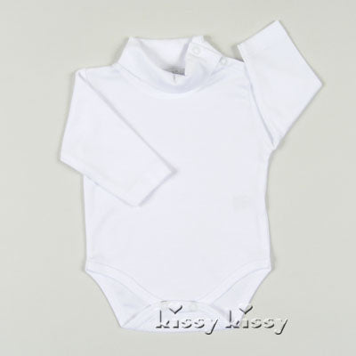 WHITE LONG SLEEVE KNIT KISSY KISSY TURTLENECK ONESIE