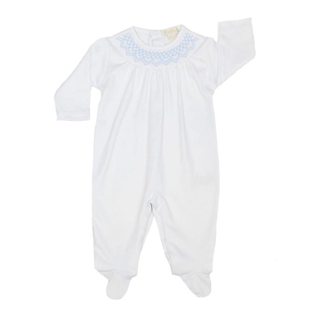 KISSY KISSY WHITE BISHOP SMOCKED FOOTIE