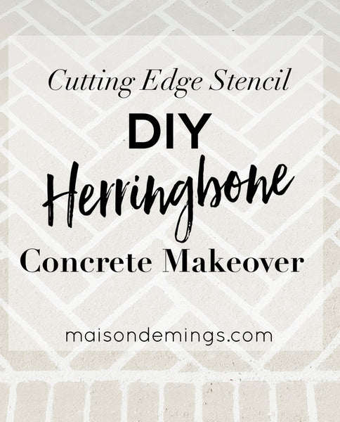 DIY Herringbone Concrete Makeover